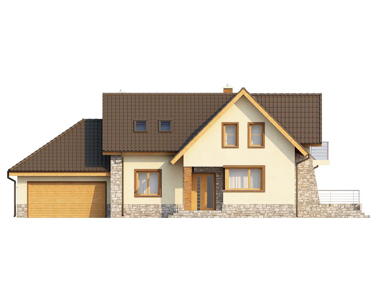 Проект традиционного дома с гаражом для двух машин и боковой террасой. 3