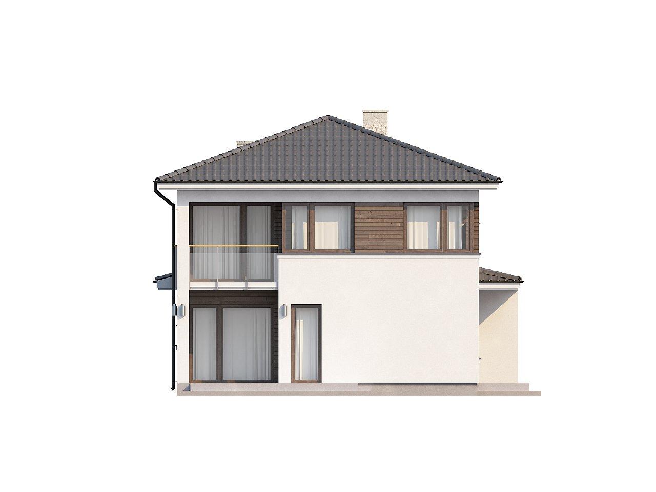 Двухэтажный современный дом с многоскатной низкой крышей, с гостиной с фронтальной стороны. - фото 4