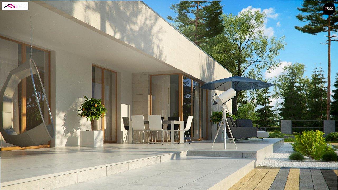 Одноэтажный дом в современном стиле, с большими застекленными окнами 8