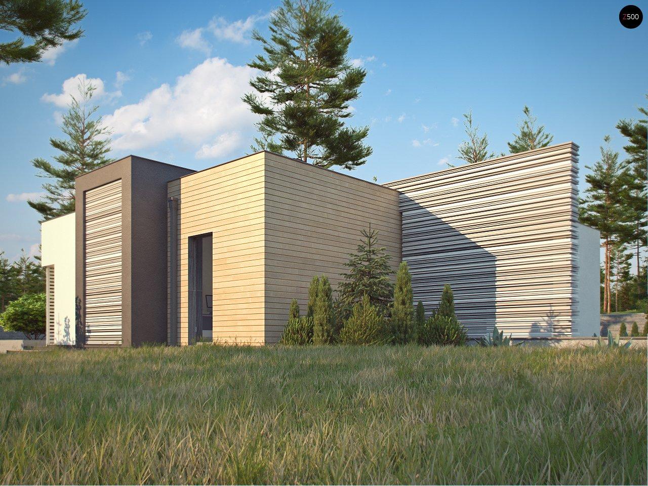 Одноэтажный дом в стиле хай-тек с плоской кровлей и большой площадью остекления. 4