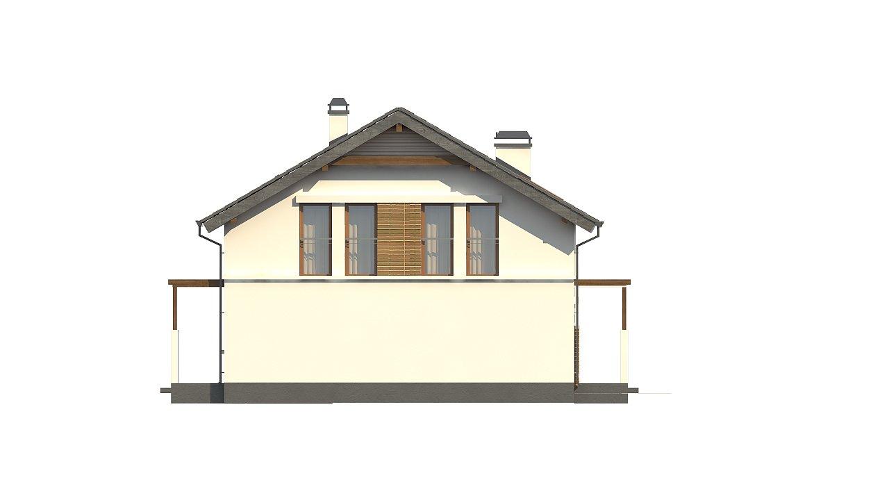 Проект дома с мансардой, с высокой аттиковой стеной, с дополнительной комнатой на первом этаже. 7