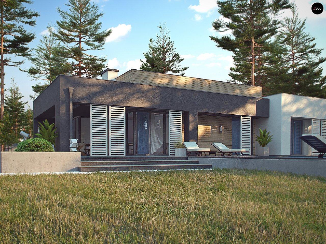 Одноэтажный дом в стиле хай-тек с плоской кровлей и большой площадью остекления. 10