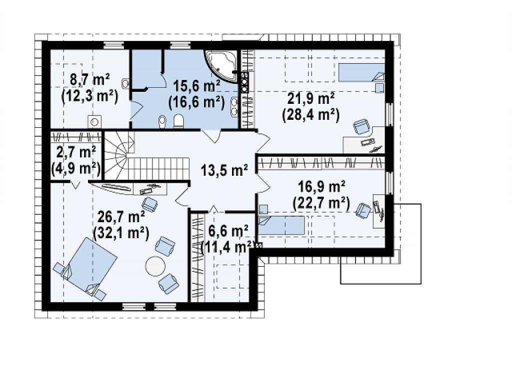 Просторный и комфортный дом с гаражом для двух автомобилей и угловым эркером. план помещений 2