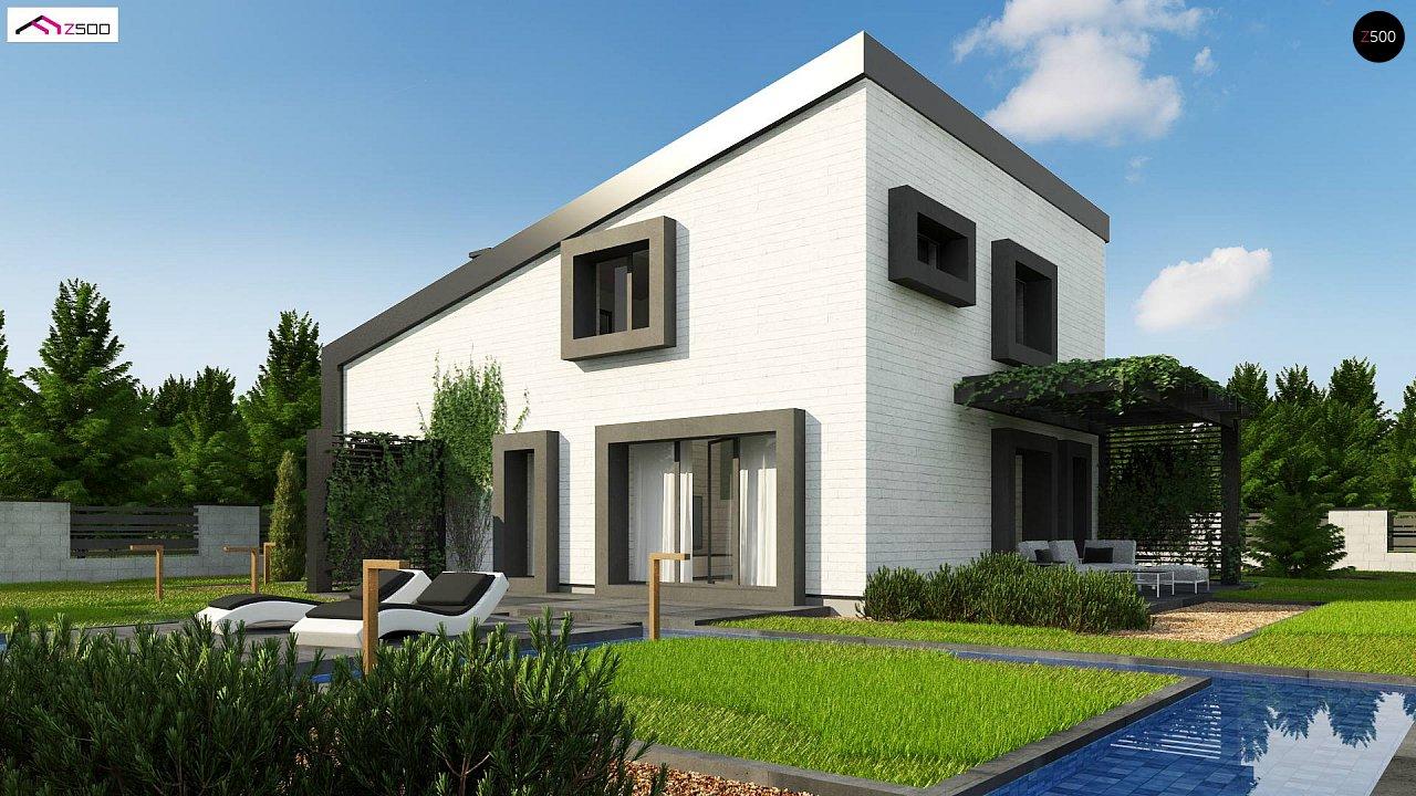 Проект двухэтажного дома с открытой дневной зоной и современным экстерьером. 3