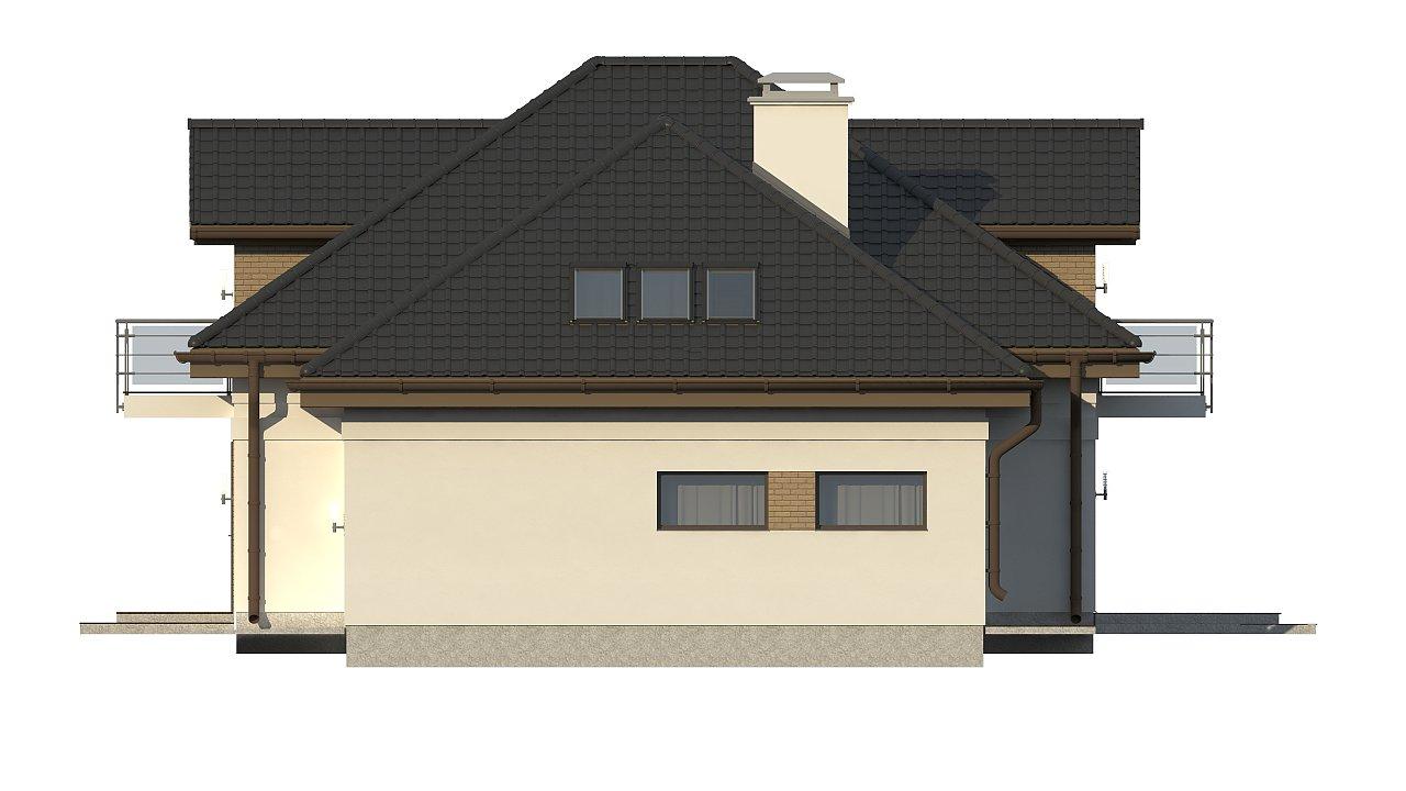 Проект дома с мансардой, с кабинетом на первом этаже и гаражом. 22