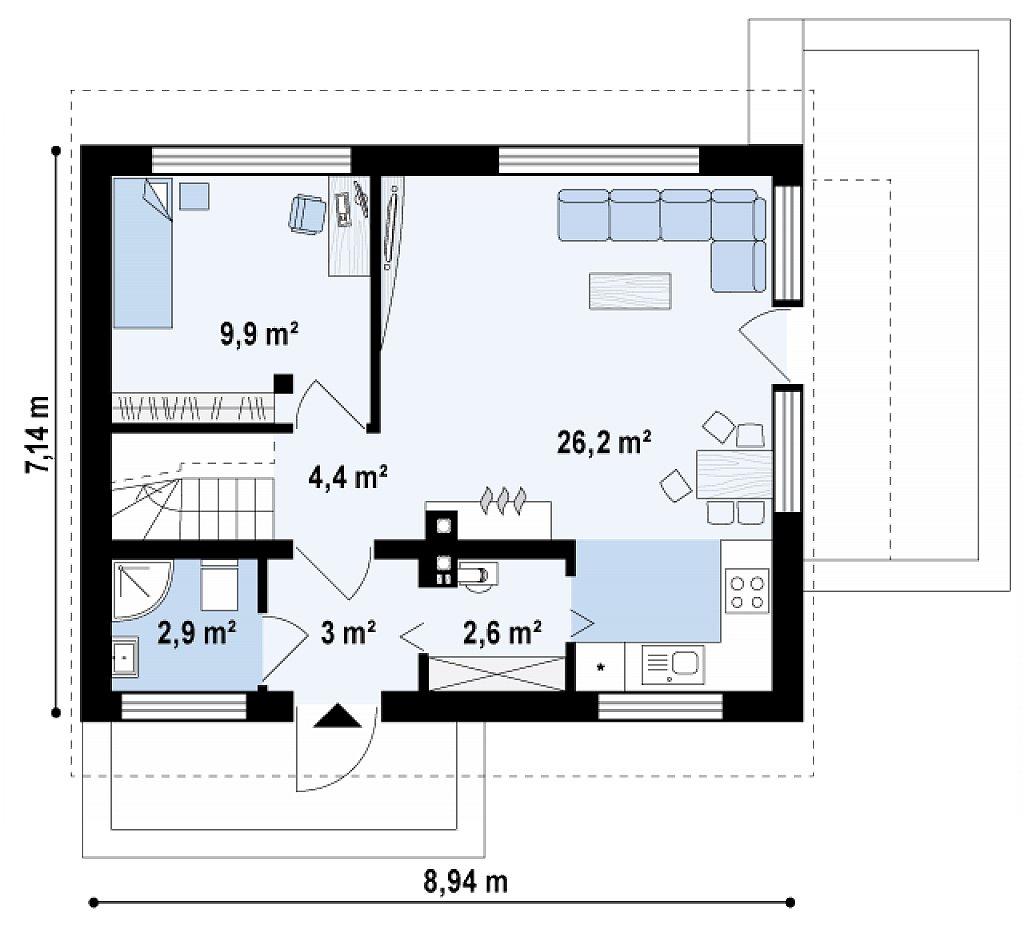 Компактный дом с дополнительной спальней на первом этаже, простой в строительстве, недорогой в эксплуатации. план помещений 1