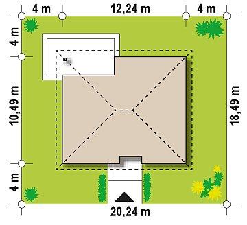 Версия проекта Z273 с жилой мансардой, с увеличенной высотой аттиковой стены. план помещений 1