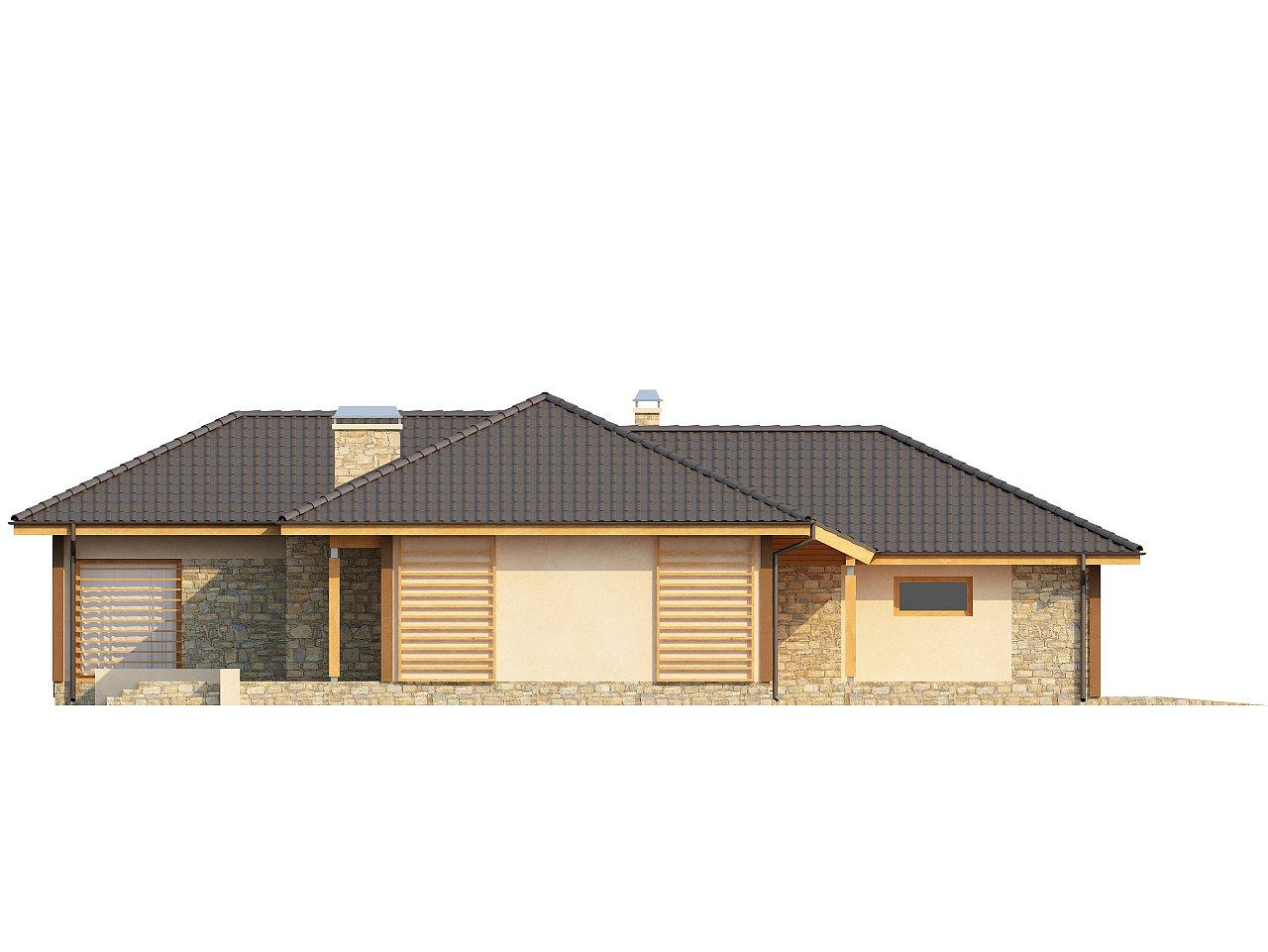 Проект одноэтажного дома с выступающим фронтальным гаражом. - фото 5
