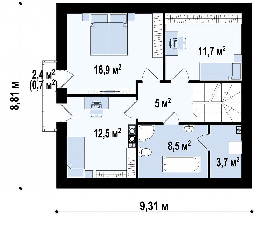 Версия проекта дома Z102 с гаражом, пристроенным справа. план помещений 2
