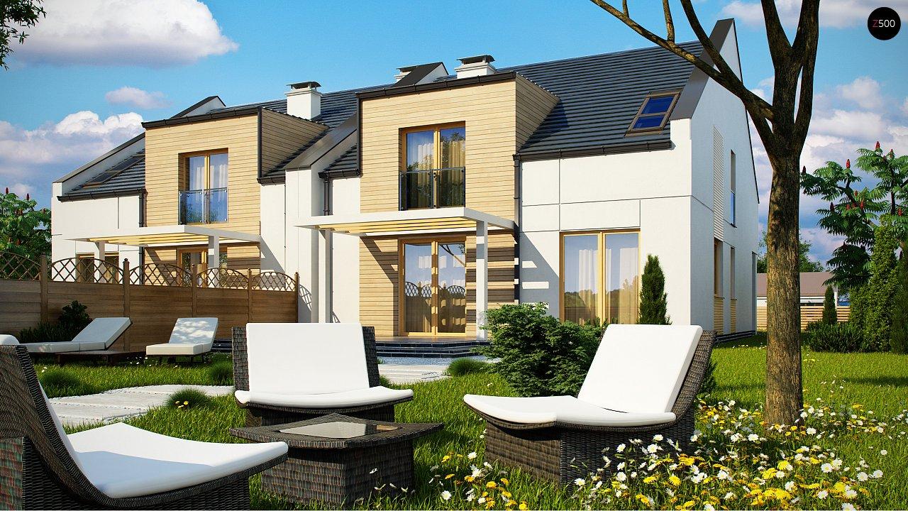 Проект домов для симметричной застройки стильного современного дизайна. 3
