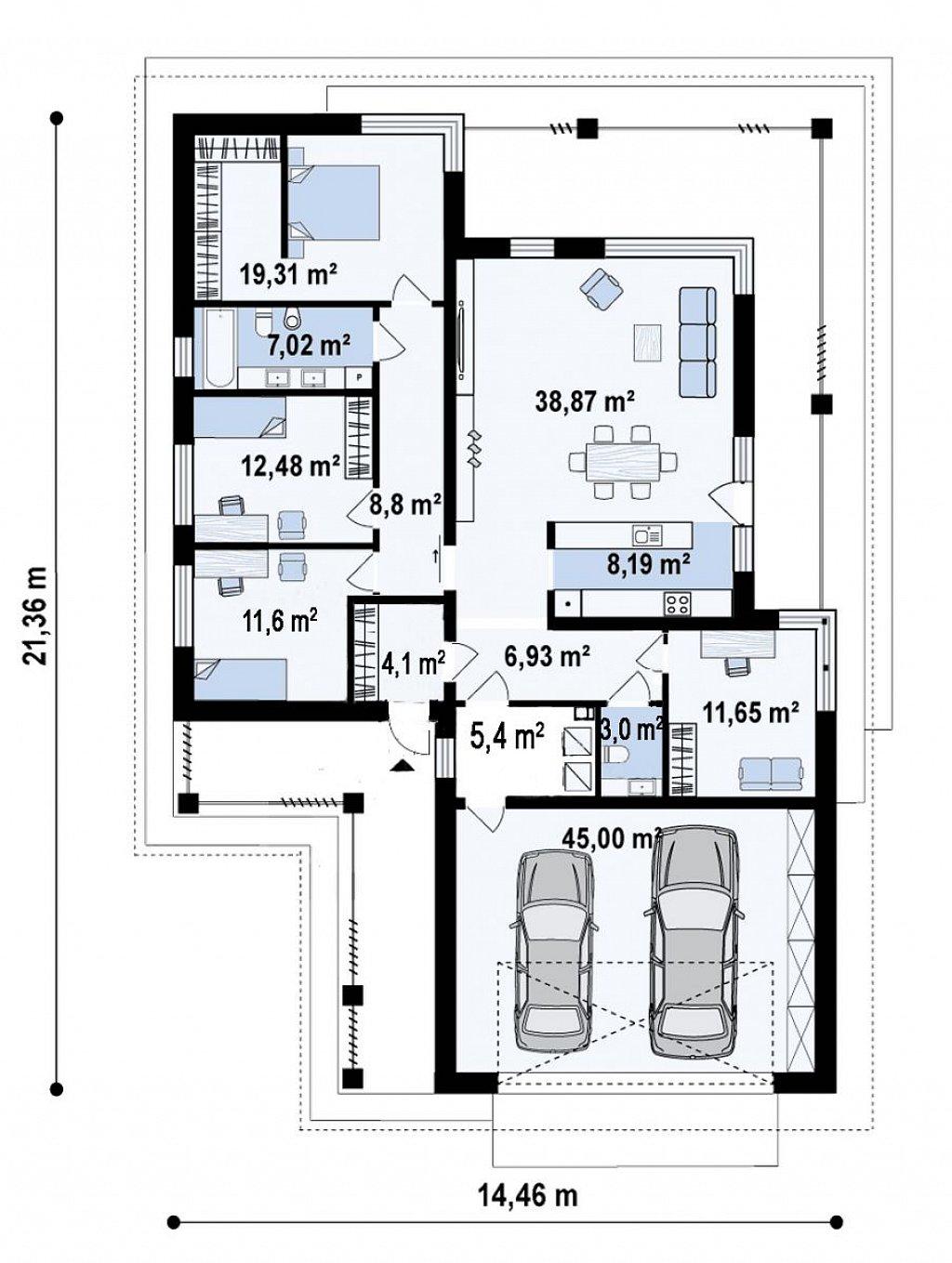 Cовременный одноэтажный дом с многоскатной кровлей и гаражом на две машины план помещений 1