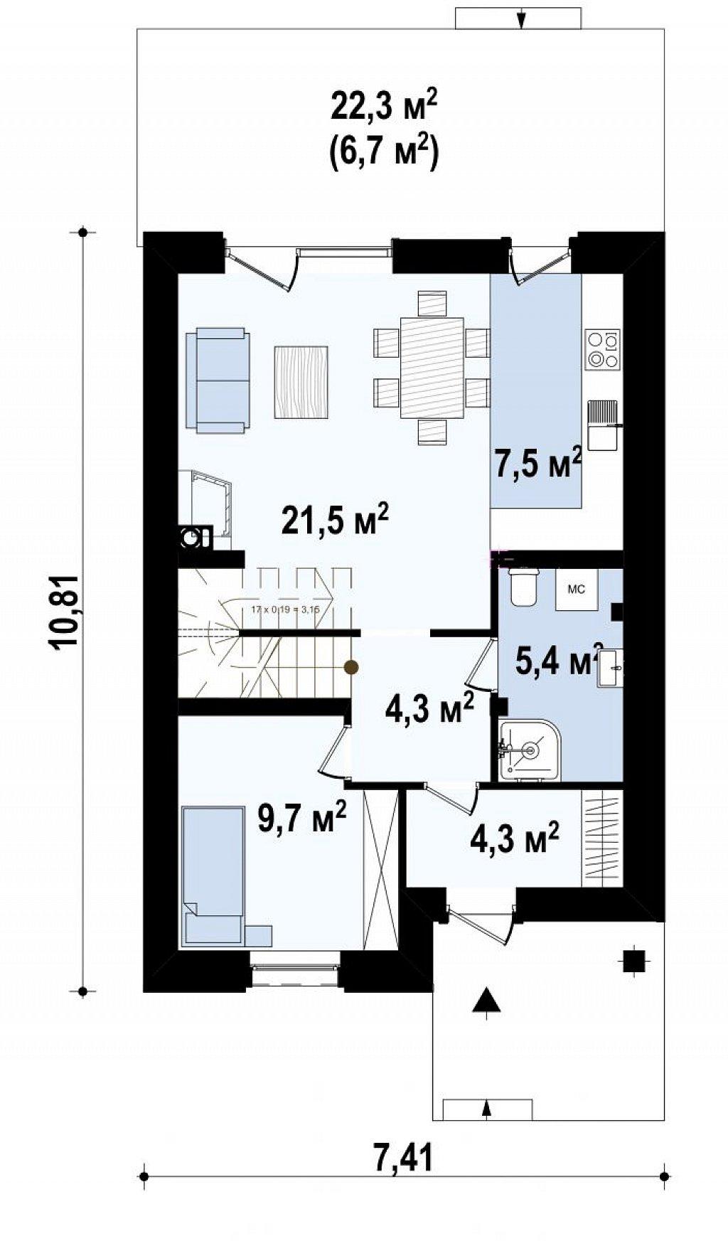 Новый вариант проекта Z38 - уютного двухэтажного дома. план помещений 1
