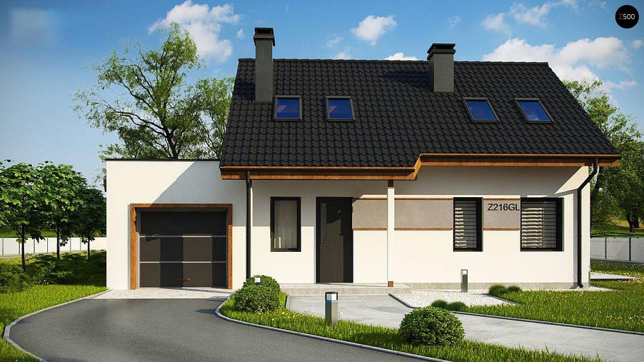 Вариант мансардного дома Z216 с гаражом на одну машину - фото 6