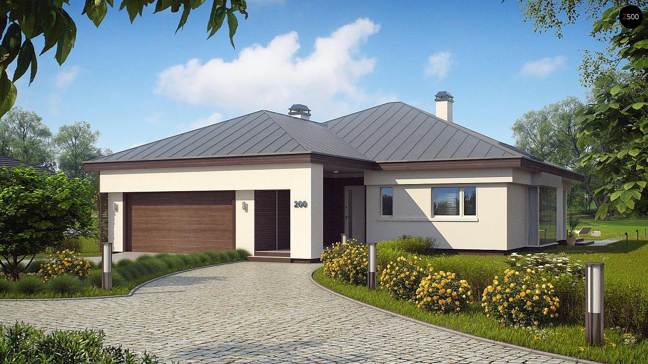 Удобный одноэтажный дом с гаражом для двух автомобилей, с большой площадью остекления в дневной зоне. 3
