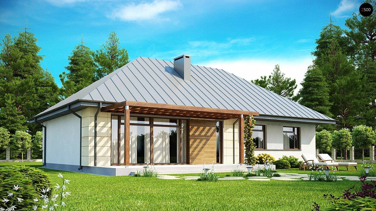 Одноэтажный дом с возможностью обустройства чердачного помещения, оптимальный для южного въезда на участок. 2