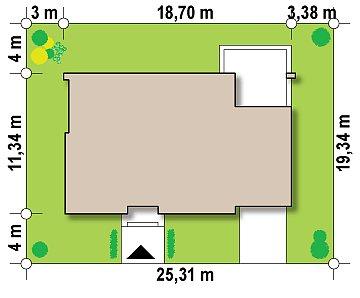 Одноэтажный дом с плоской крышей, со светлым функциональным интерьером и гаражом. план помещений 1
