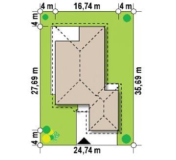 Комфортабельный одноэтажный дом для продольного участка с большим гаражом, с возможностью обустройства мансарды. план помещений 1