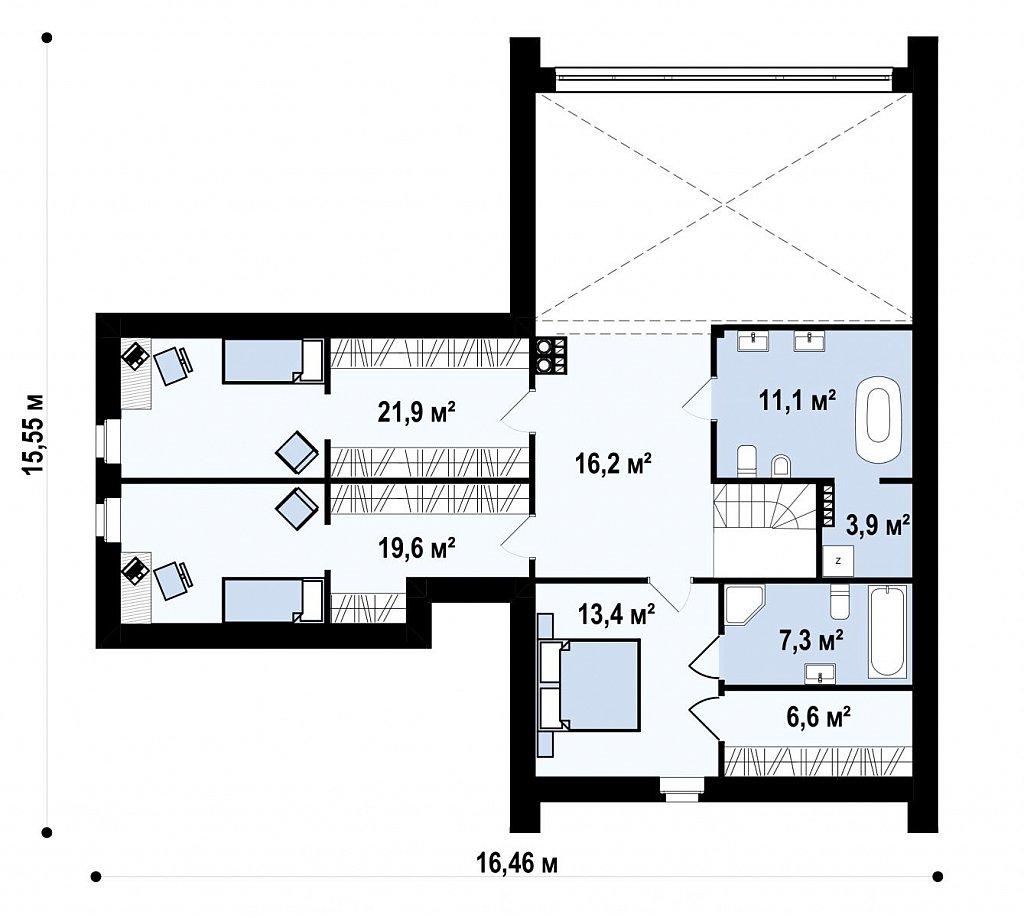 Современный мансардный дом с гаражом на две машины план помещений 2