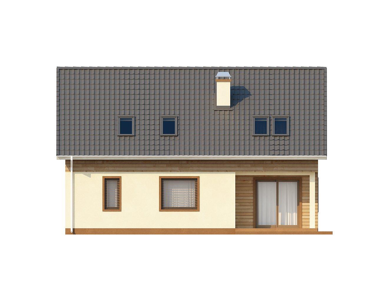 Проект традиционного дома с мансардой, со встроенным гаражом. 4