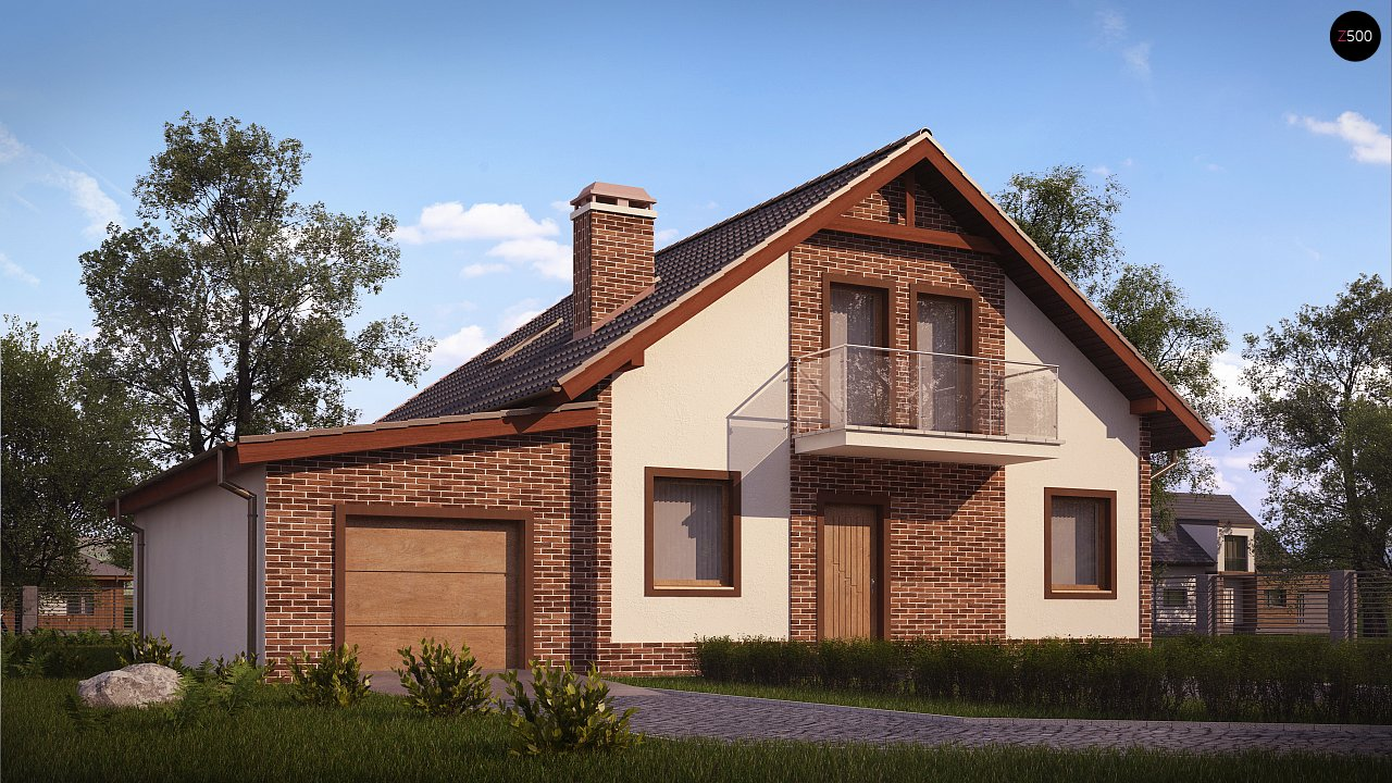 Проект мансардного дома - вариант Z63 c внесенными изменениями в планировку и гаражом для 1 авто 1