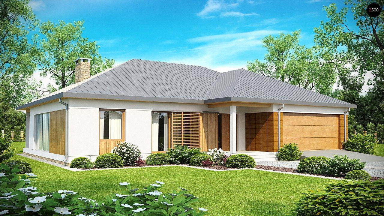 Проект практичного одноэтажного дома с фронтальным выступающим гаражом и крытой террасой. 1