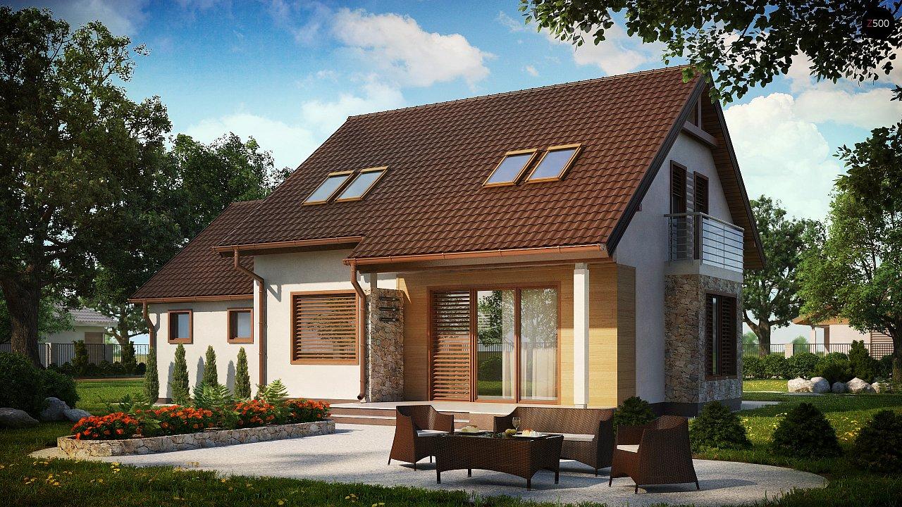 Версия проекта дома Z102 с гаражом, пристроенным справа. 2