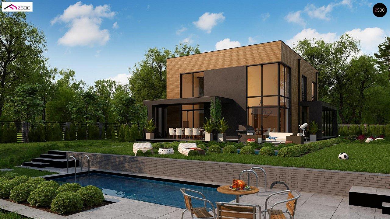 Проект современного двухэтажного дома с вторым светом и большой площадью остекления. - фото 2