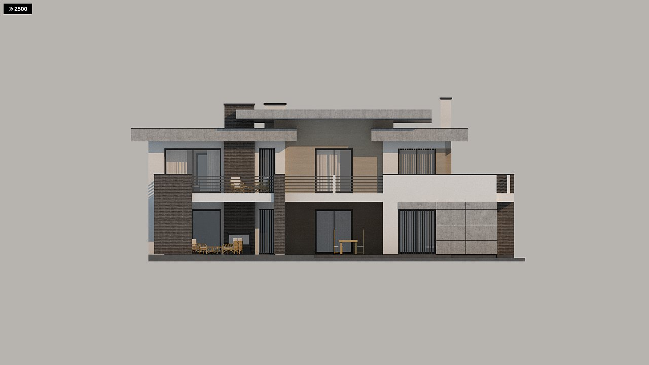 Красивый и комфортный дом с плоской кровлей, гаражом на две машины и просторными террасами. - фото 18