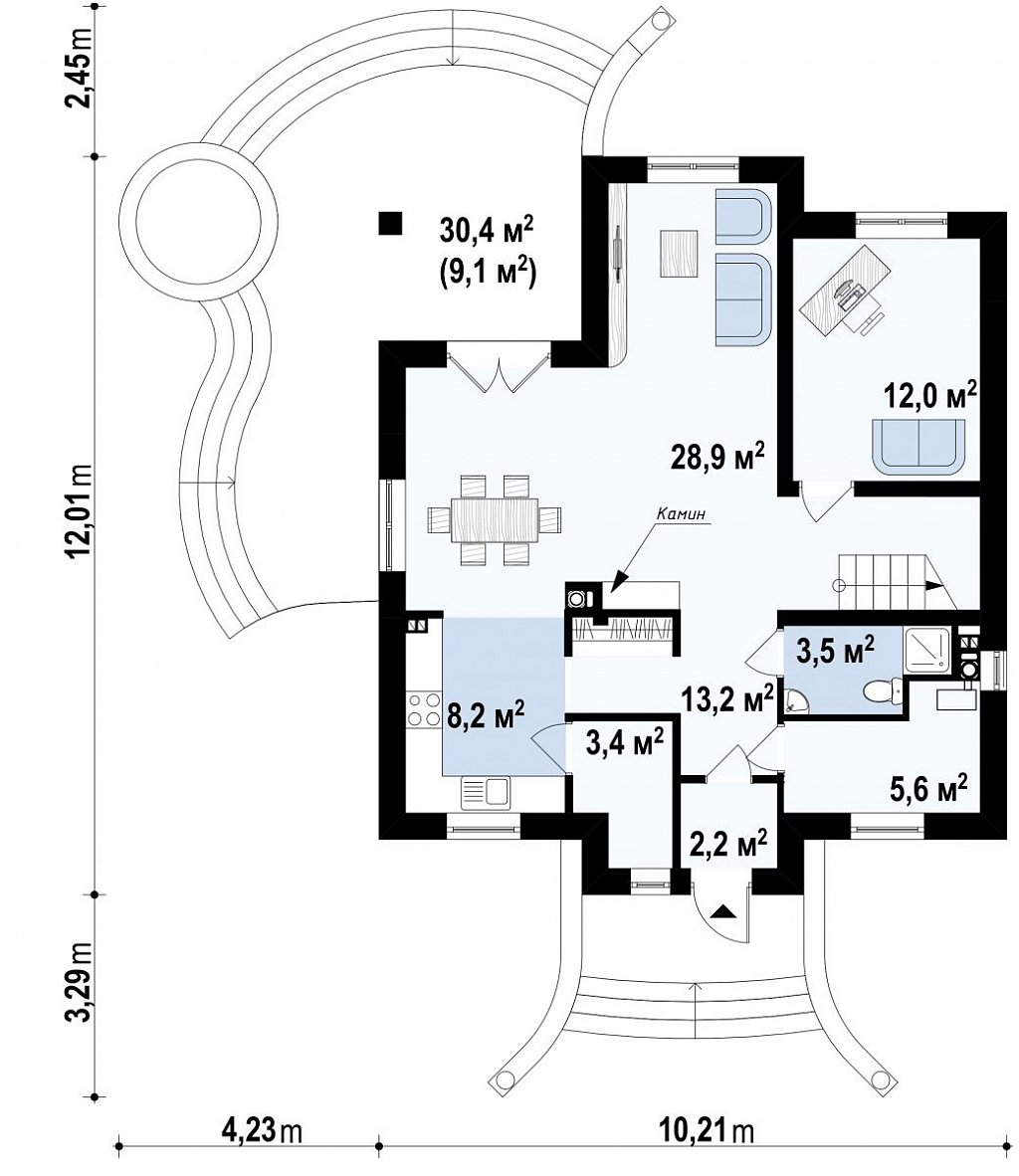 Проект изысканного классического дома с мансардой. план помещений 1