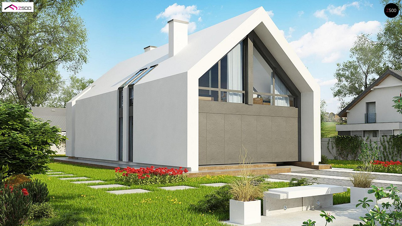 Мансардный дом со встроенным гаражом для одного автомобиля. 1