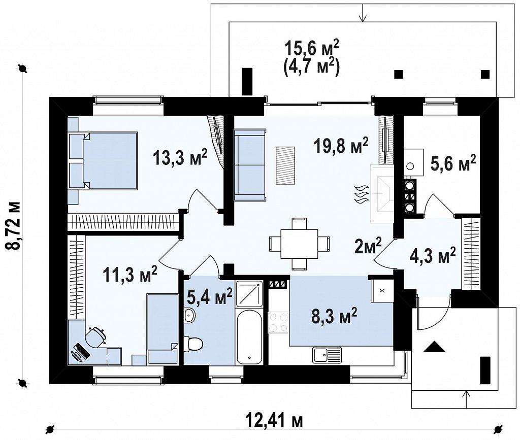 Выгодный компактный одноэтажный дом с угловым окном в кухне. план помещений 1