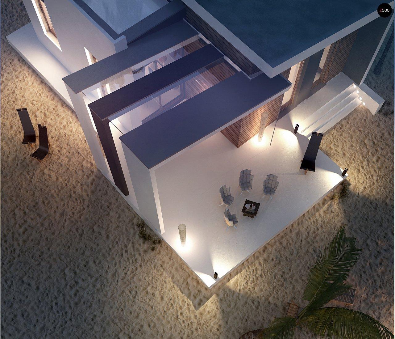 Современный и функциональный одноэтажный дом с уникальной архитектурной формой. 8