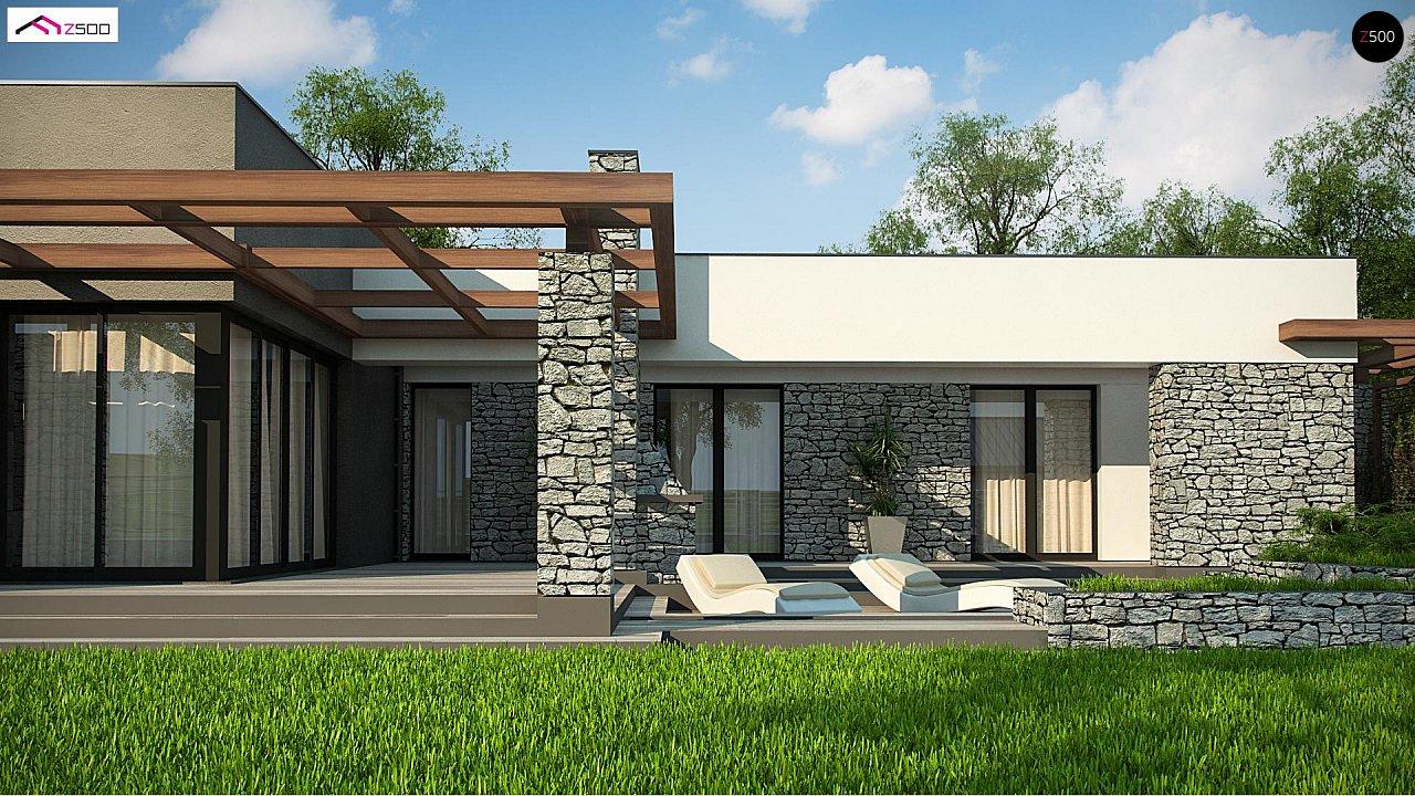 Современный одноэтажный дом с двойным гаражом и плоской крышей 6