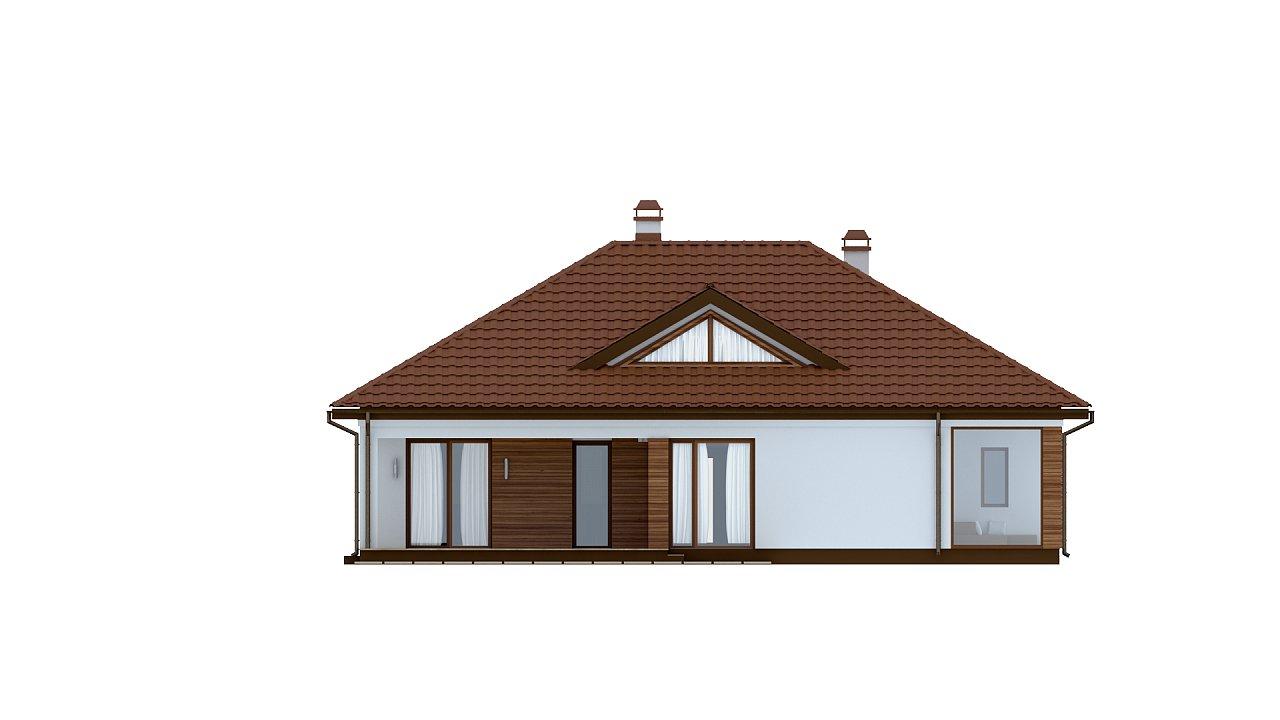 Традиционный одноэтажный дом с крытой террасой и оранжереей. 4