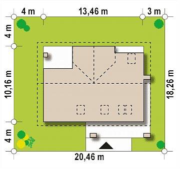 Аккуратный мансардный коттедж с гостевой спальней на первом этаже план помещений 1