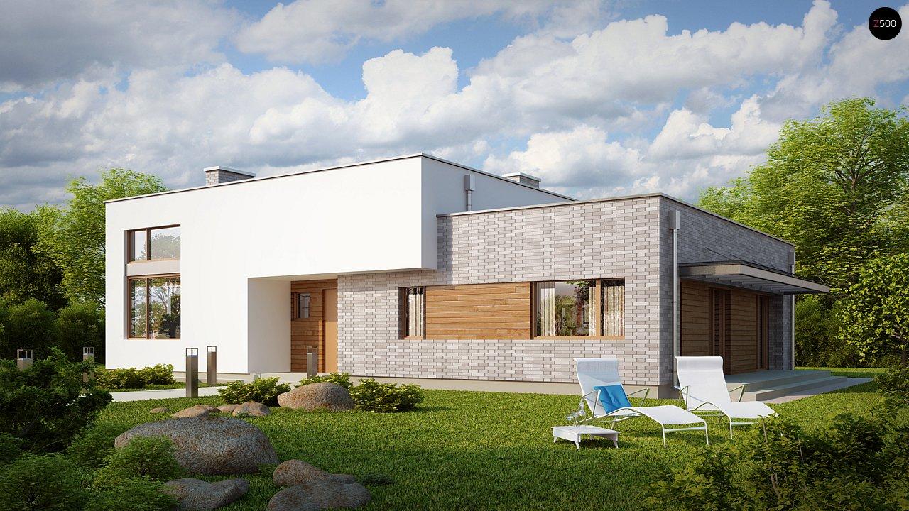Одноэтажный практичный дом с плоской крышей современного дизайна. 1