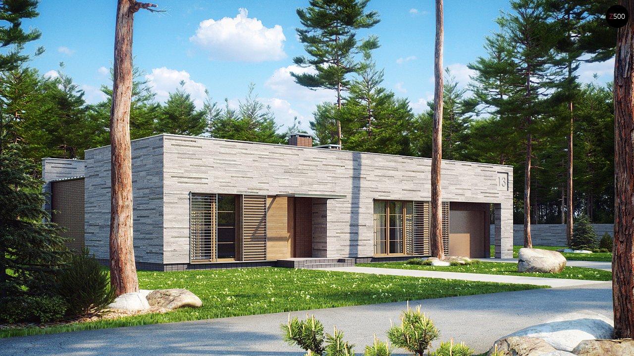 Одноэтажный дом с плоской крышей, со светлым функциональным интерьером и гаражом. 3
