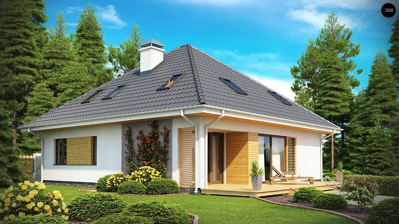 Красивый и функциональный дом с боковой террасой и необычным мансардным окном. 2