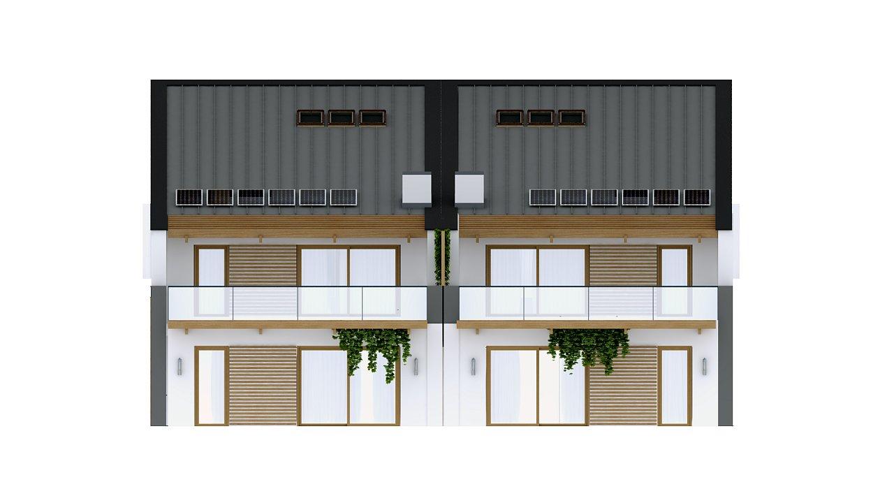 Дома для симметричной застройки с гаражом оригинального современного дизайна. 4