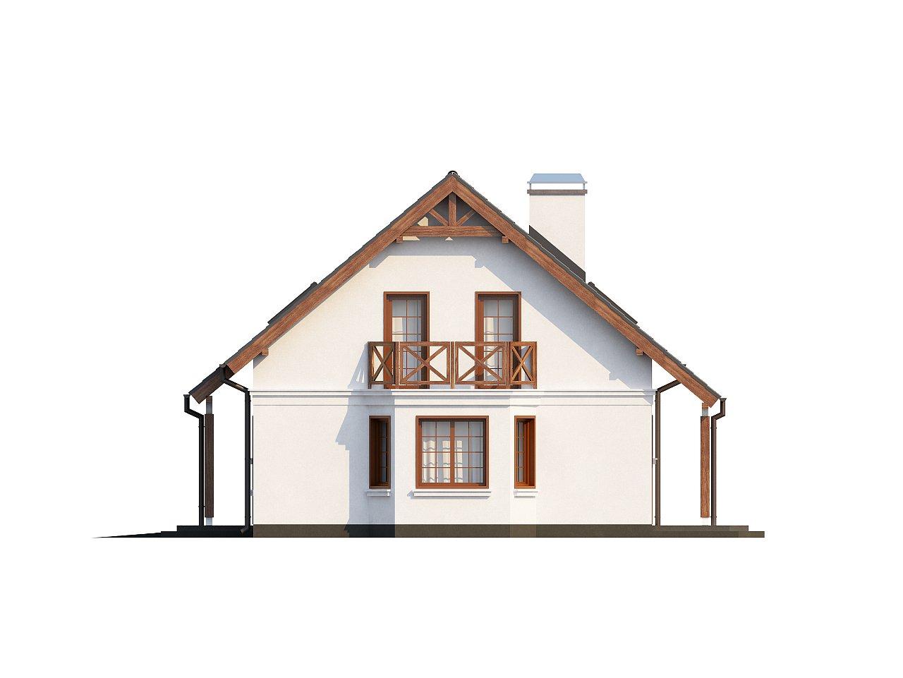 Элегантный дом простой формы со встроенным гаражом, эркером и балконом над ним. 14