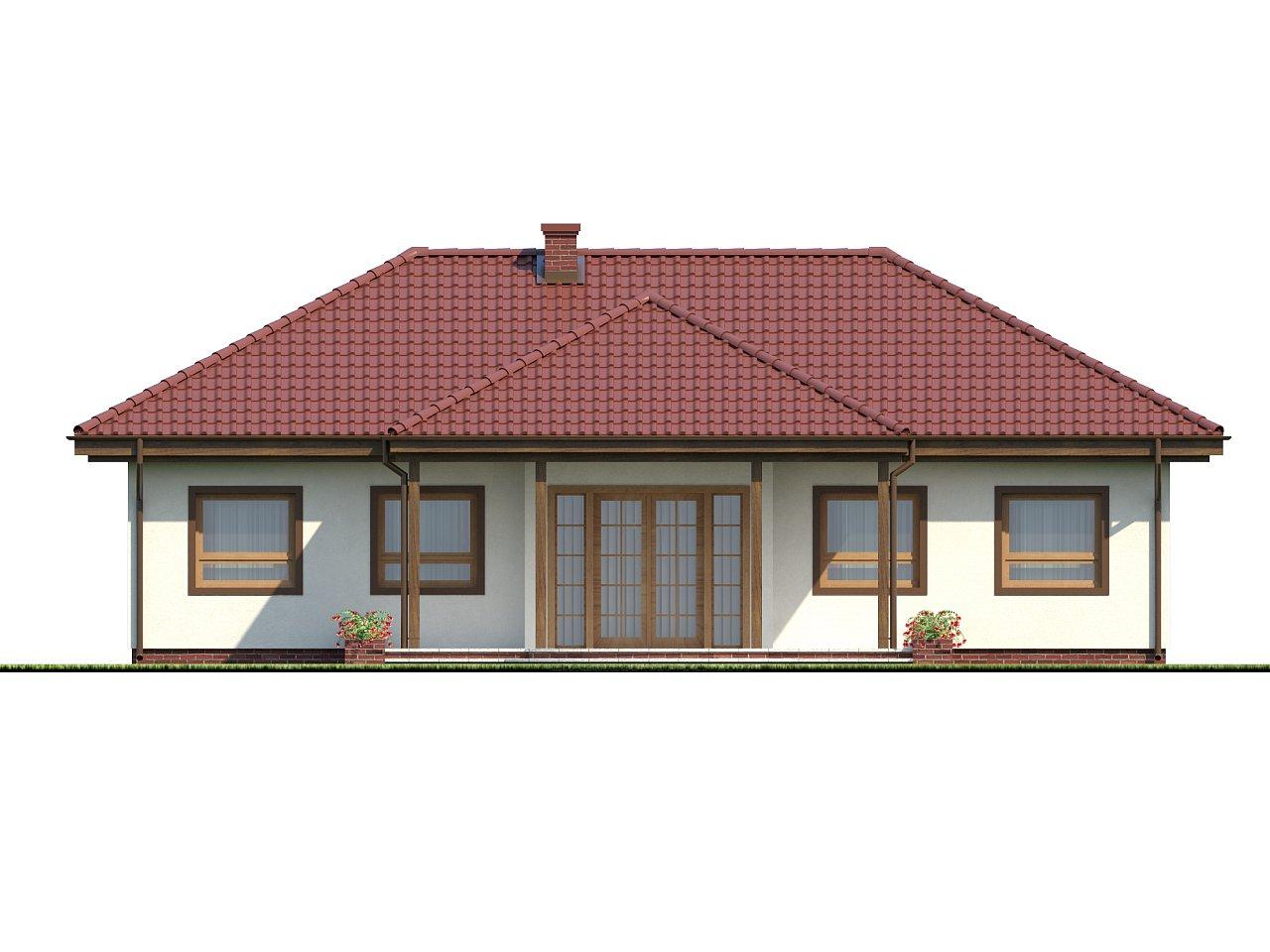 Симметричный одноэтажный дом с многоскатной кровлей. 4