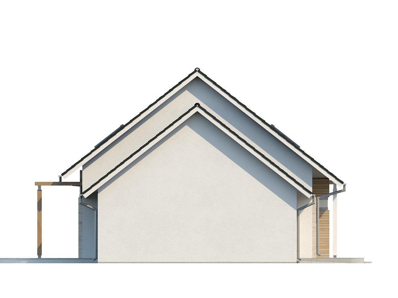 Проект практичного дома с эркером и гаражом на одну машину. 25