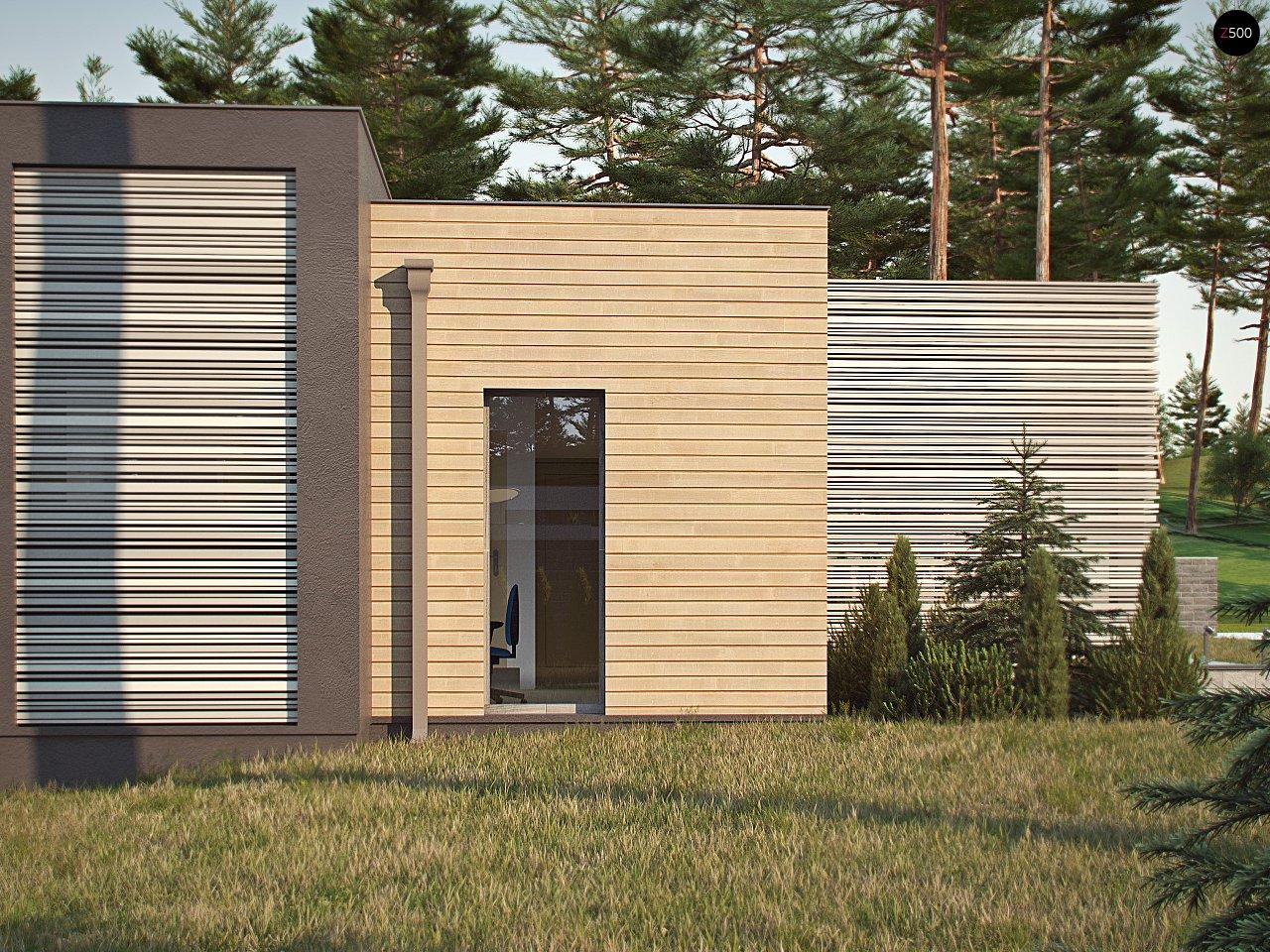 Одноэтажный дом в стиле хай-тек с плоской кровлей и большой площадью остекления. 5