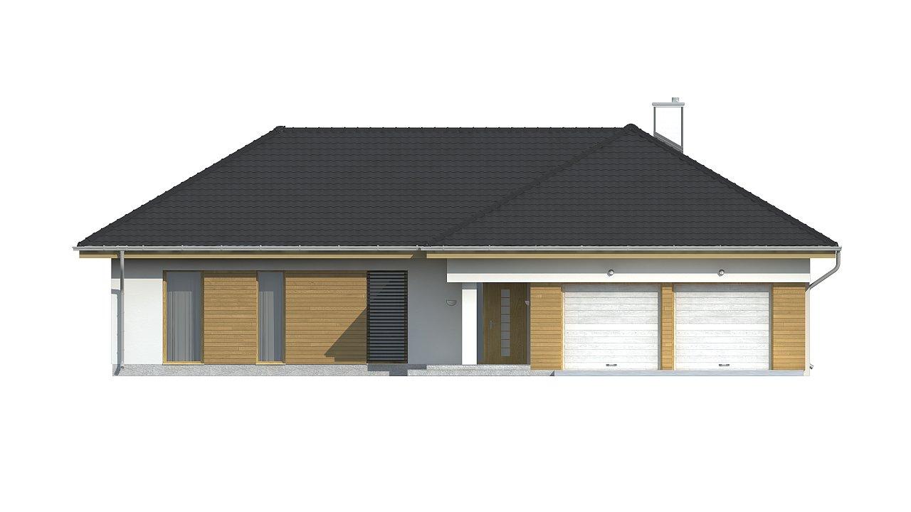 Проект комфортного одноэтажного дома с фронтальным гаражом для двух машин. 7