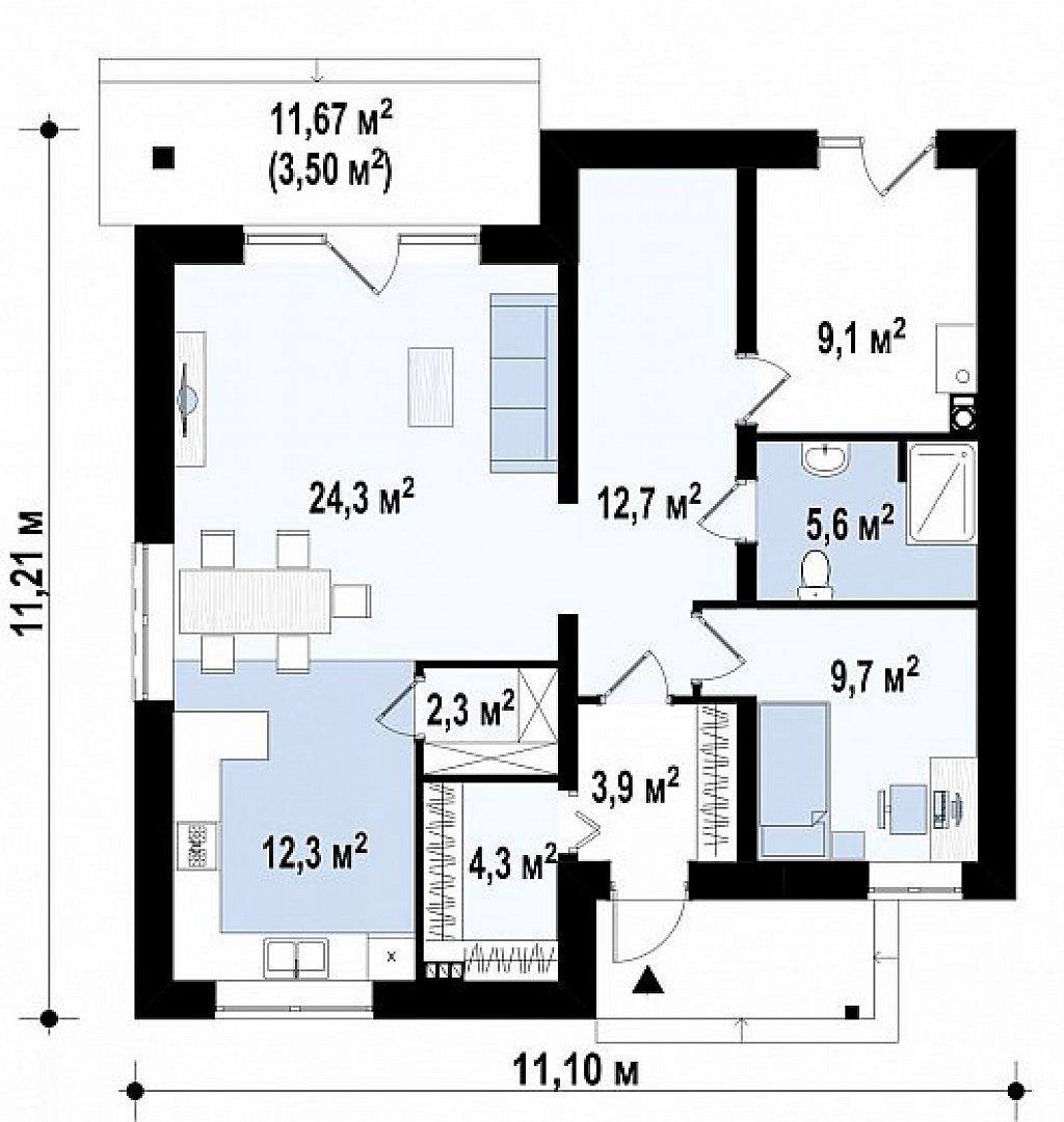 Вариант двухэтажного дома Zz1a с плитами перекрытия план помещений 1