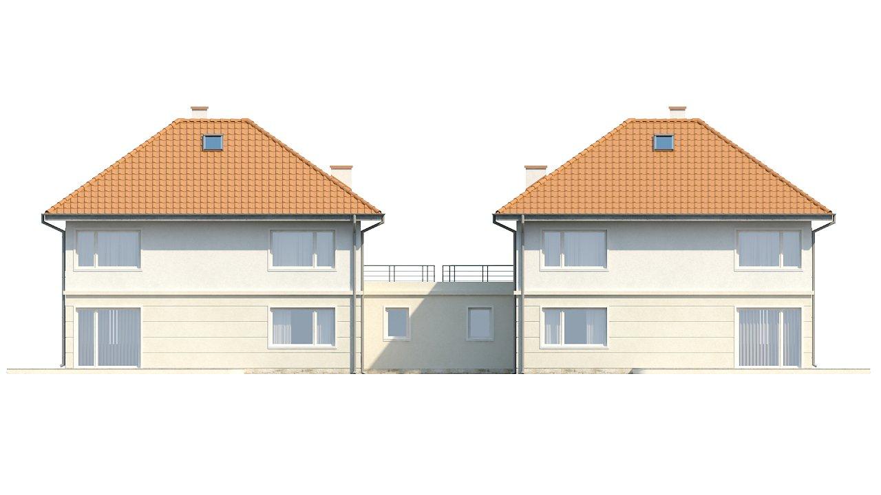 Проект просторного двухэтажного дома для симметричной застройки с террасой над гаражом. 15
