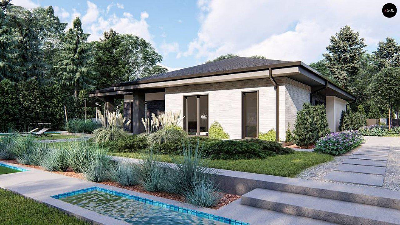 Cовременный одноэтажный дом с многоскатной крышей и гаражом на две машины. 3