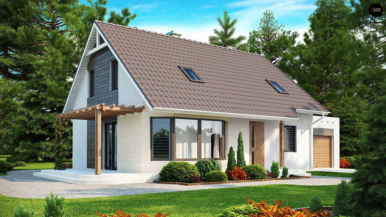 Проект дома с гостиной со стороны входа, боковой террасой и дополнительной спальней на первом этаже. 1