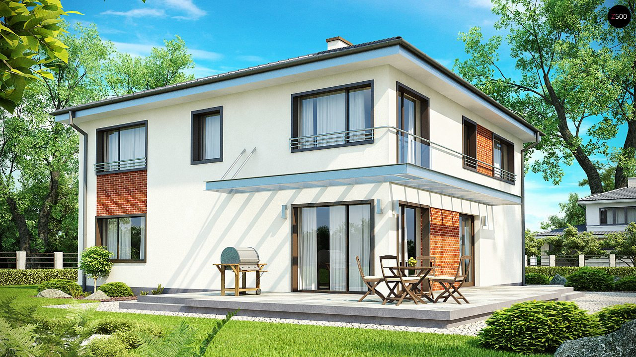 Комфортабельный двухэтажный дом простой формы со стеклянным эркером над гаражом. - фото 2