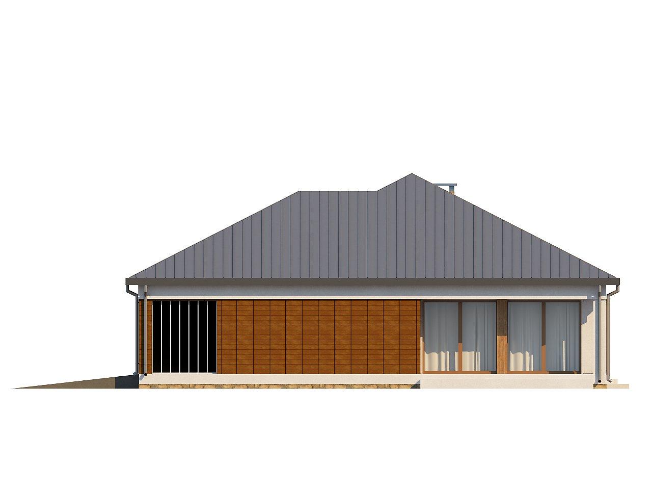 Проект практичного одноэтажного дома с фронтальным выступающим гаражом и крытой террасой. 6
